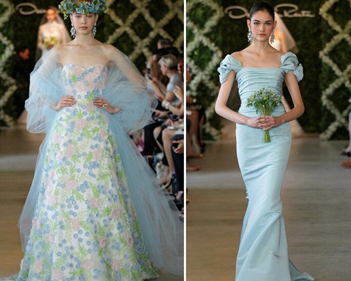 Robe de mariée de couleur bleue - Photographie: Oscar de la Renta 2013