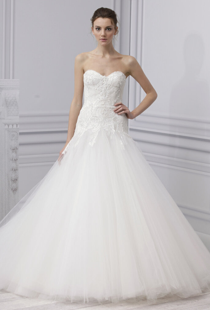 Vestido de novia 2013, romántico corte princesa, strapless