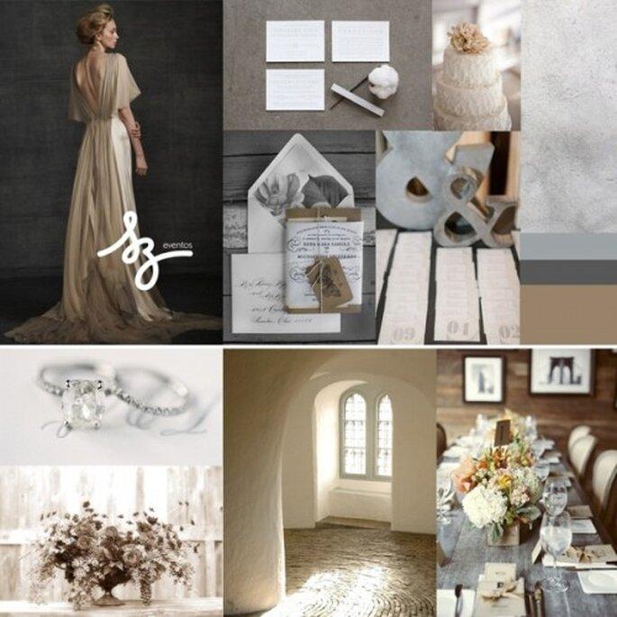 Collage de inspiración para decorar tu boda con el color sepia y un toque glam - Foto snippetanddink.com, elizabethannedesigns.com, projectwedding.com, stylemepretty.com. Diseño de Raisa Torres para SZ Eventos