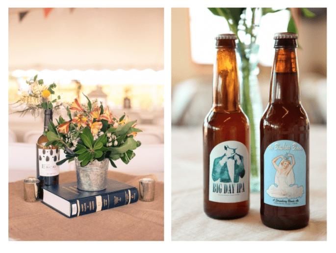 Decoración de boda con botellas avejentadas - Fotos de Sheena C Photography y Jessica Hannon Photography