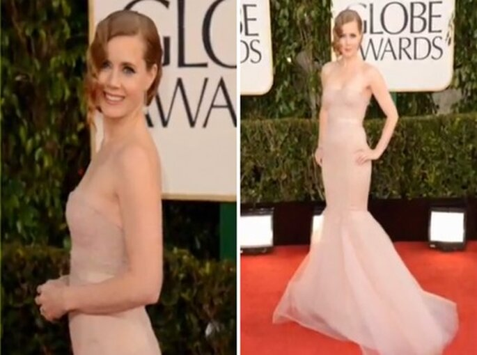 Amy Adams con un vestido Marchesa en los Golden Globes 2013 - Foto OfficiaHollywoodBuzz YouTube