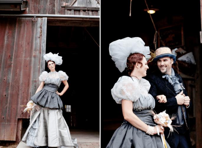 tendencia steampunk para boda. Fotografía Jen Lynne