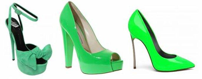 Zapatos en verde vibrante de Giuseppe Zanotti, Brian Atwood y Casadei