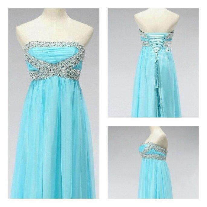 Vestido azul de novia por encargo con inspiración vintage de Wonderxue en Etsy