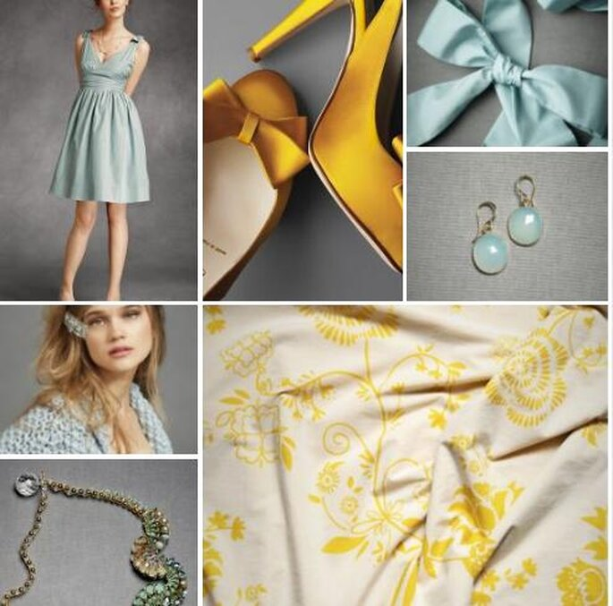 Bleu et jaune pour votre mariage. Photos: BHLDN