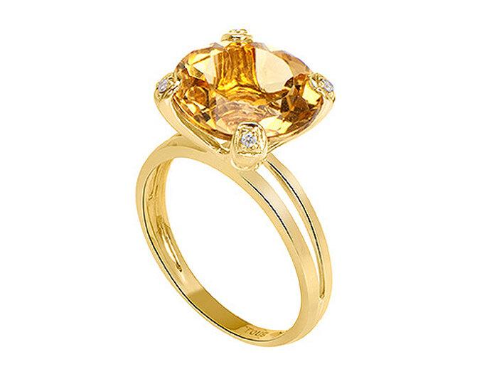 Sortija TOUS en oro amarillo, citrino y diamantes.