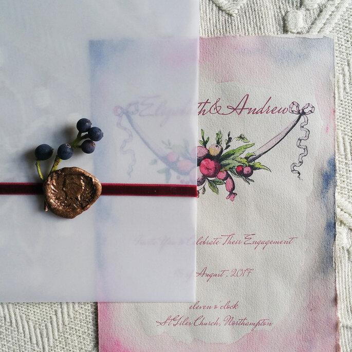 Elegante und edle Hochzeitspapeterie in Aquarell