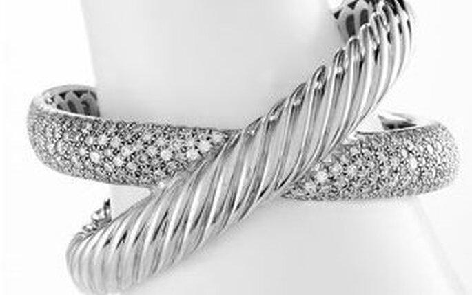 Pulsera doble de Neimann Marcus de brillantes y plata