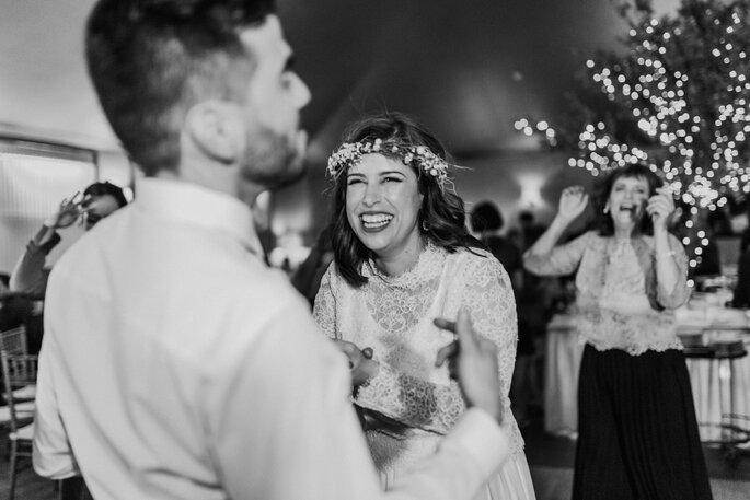 Foto p/b festa de casamento