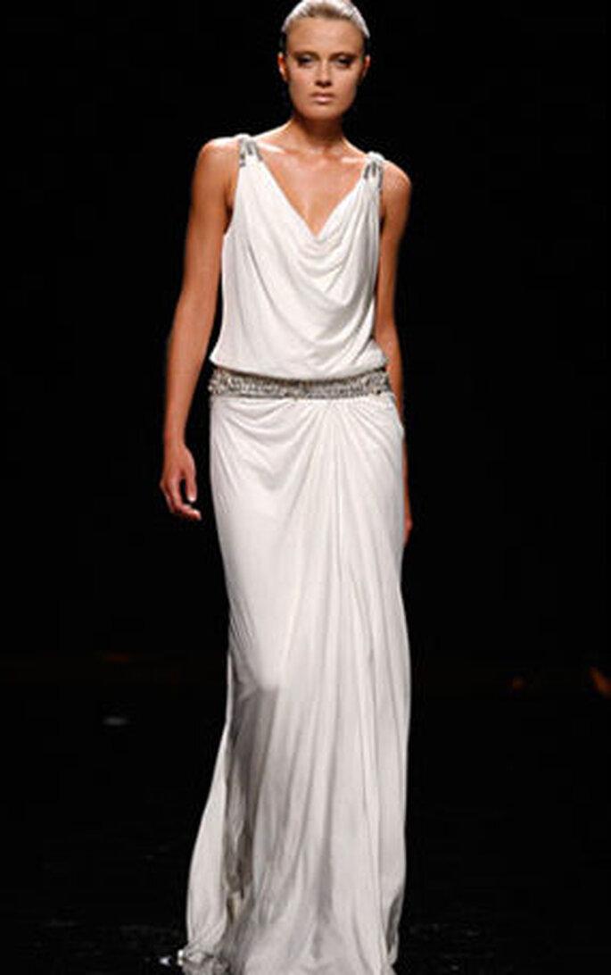 Abito Rosa Clará - stile impero, in tessuto leggero che scivola sul corpo, cintura in vita
