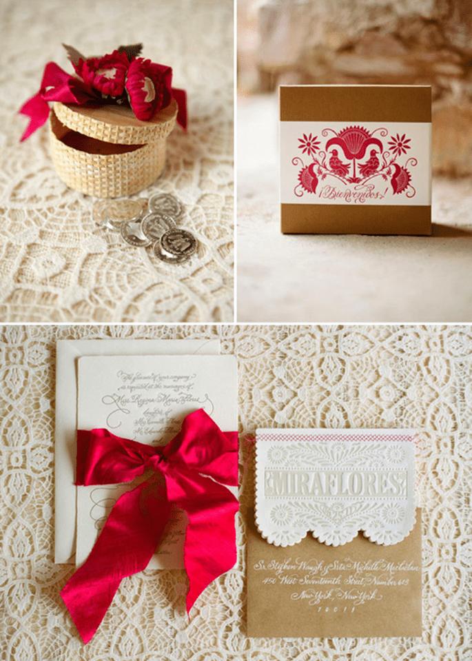 Invitaciones con detalles en color rosa intenso - Foto Aaron Delesie