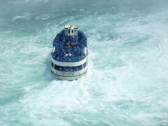 Mit dem Maid of the Mist Boat von unten an die Niagarafälle heranfahren und heiraten! Foto: Maria Lanznaster / pixelio.de