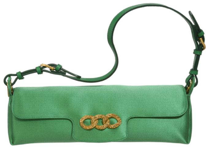 Modernísimo modelo de Jimmy Choo con correa. En color verde esmeralda y herraje dorado.