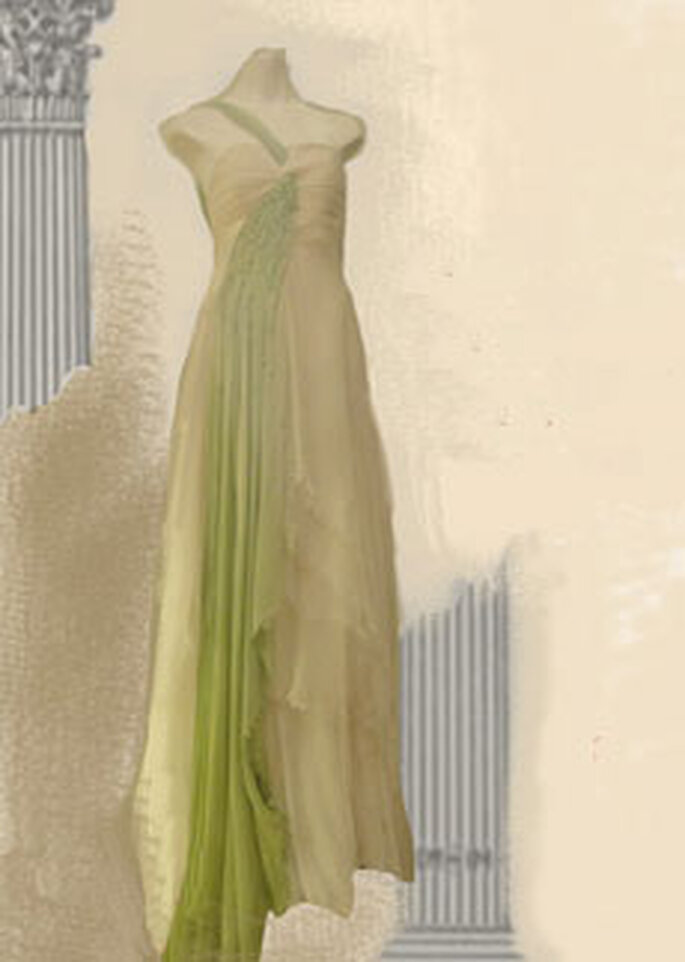 Cherry Chau - Robe longue verte en mousseline de soie