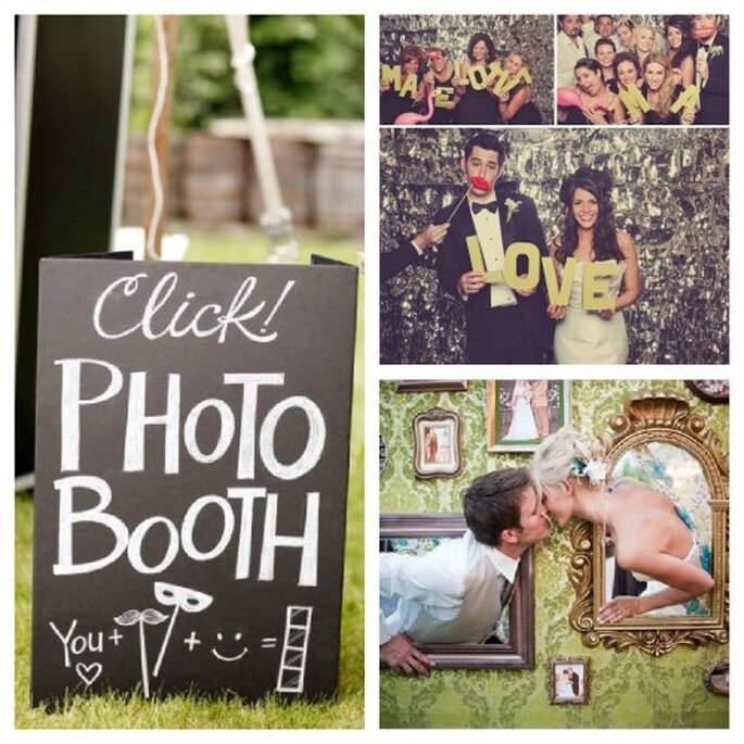 Photobooth und Photowall sorgen für lustige Hochzeitsfotos – Foto: Lauryn Byrdy, Matt Shumate, Green Weedding
