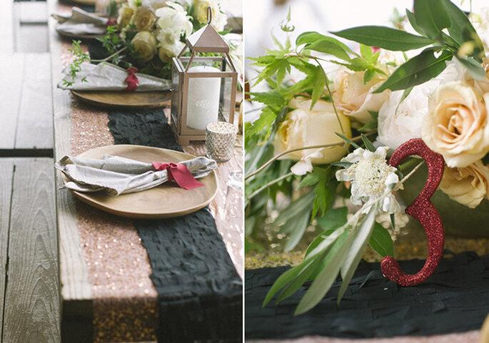 Centros de mesa com flores elegantes e detalhes em burdeus - Foto Brooke Schwab
