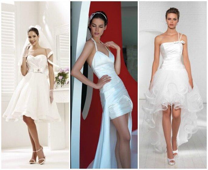 Abiti da sposa corti. Da sinistra Colet 2013 by Nicole Spose, Valentini Spose, Egò Spose.