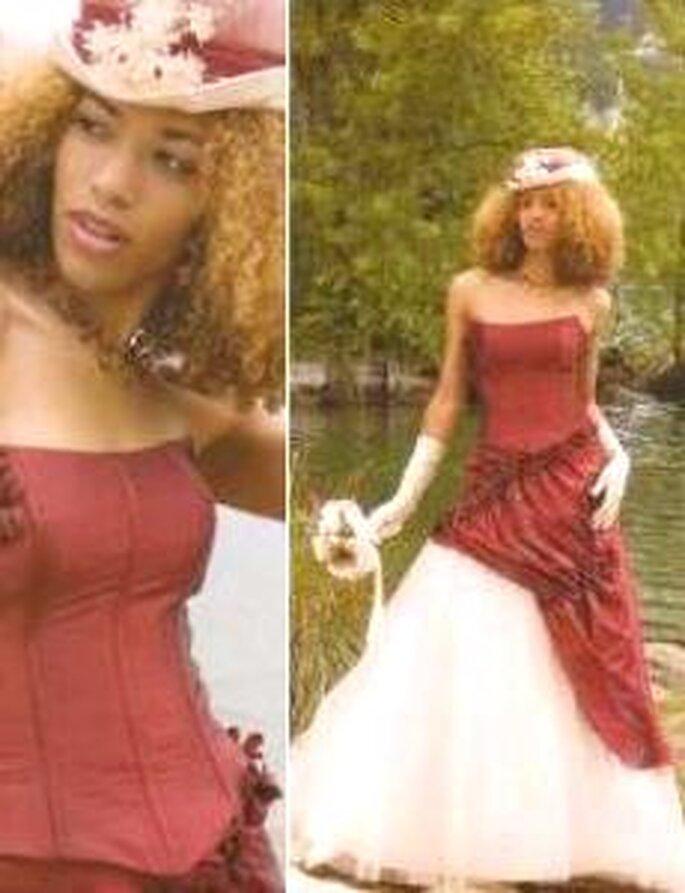 Tati Mariage 2008 - Dominille, robe longue en deux couleurs, bustier strapless