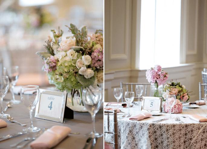 Números de mesa hermosos para boda. Fotografía Jen Lynne