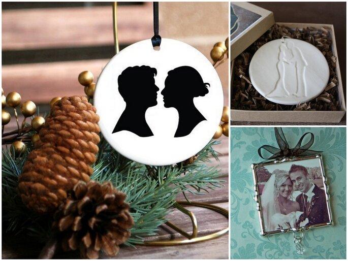 Left: Custom Couple Silhouette Ornament by Etsy seller lepapierstudio, $34. Top right: Kissing Couple Ornament in White by Etsy seller ChrissyAnnCeramics, $14. Bottom right: Soldered Glass Wedding Photo Ornament by Etsy seller SissysArt, $21.