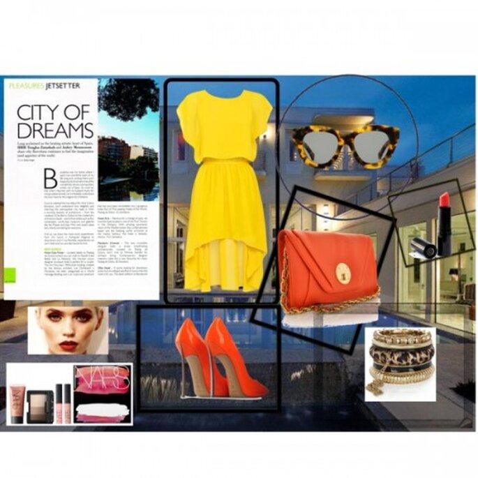 Vestido: Cottonon.com,  Bolso: Elliot Lucca, pulsera: RiverIsland.com, zapatos: Thecorner.com, cosméticos. Nars