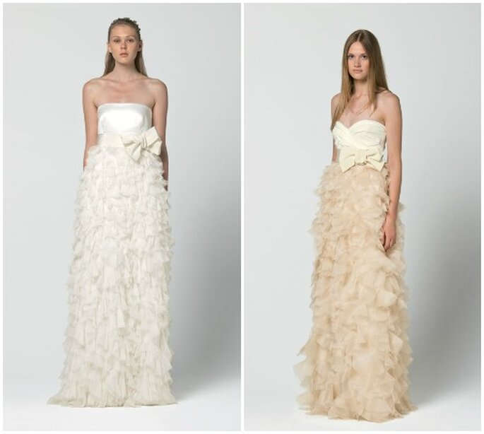 Abiti con gonna multiveli in organza e fiocco in vita. Max Mara 2013 Bridal Collection. Foto: www.maxmara.com