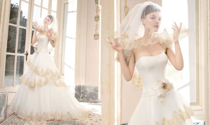 Corpetti e pizzi Chantilly per la sposa settecentesca. Foto via Atelier Aimée Montenapoleone Website