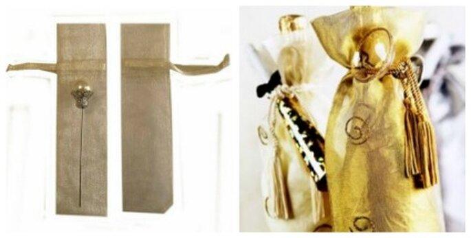 Botella de vino o champaña en bolsa de organza