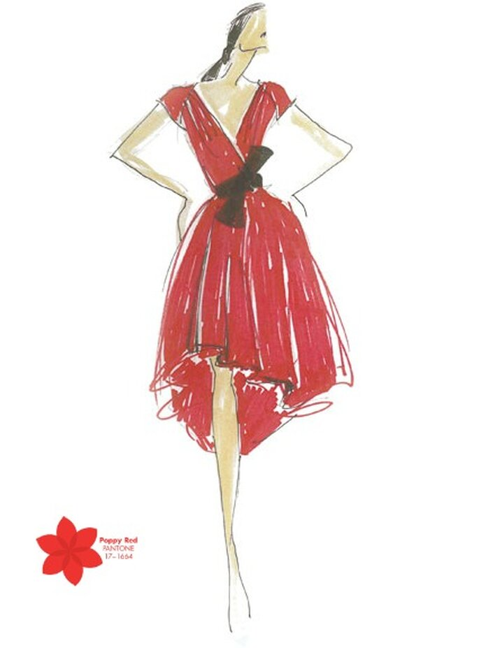 Couleur: rouge coquelicot. Illustration: Carmen Marc Target. Photo: Pantone