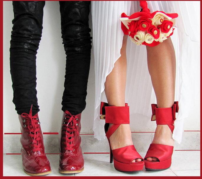 Zapatos rojos para novios de Adriana Capasso. Foto: http://adriana-capasso.tumblr.com