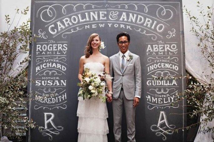 Escenario Photocall de boda con un pizarron, muy vintage