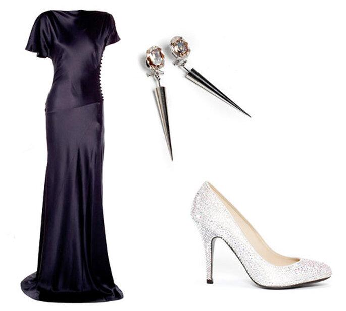 Foto: vestido Nora de Cortana; zapatos Aquila Serena Whitehaven; pendientes Cobachón de Anton Heunis