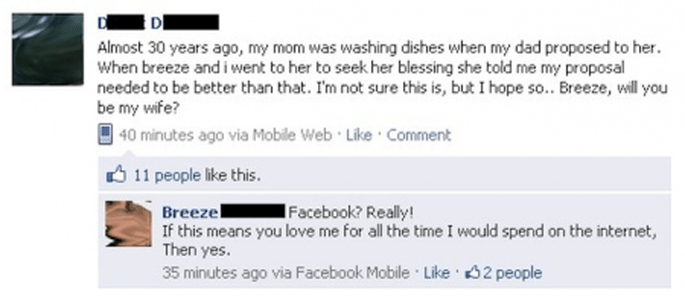 Um pedido de casamento via Facebook