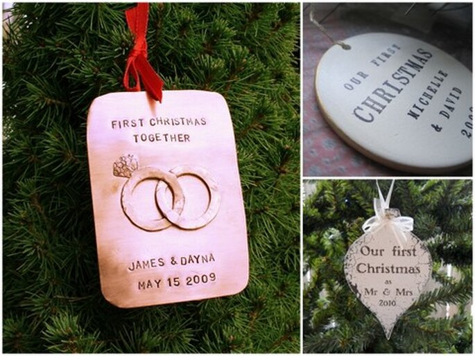 Left: First Christmas Together Hand-Stamped Copper Ornament by Etsy seller CharmsofFaith, $15. Top right: Gold or silver leaf round text tile first Christmas ornament by Etsy seller Paloma's Nest, $36. Bottom right: Mr. and Mrs. Shabby Cottage Christmas ornament by Etsy seller thebackporchshoppe, $11.95.
