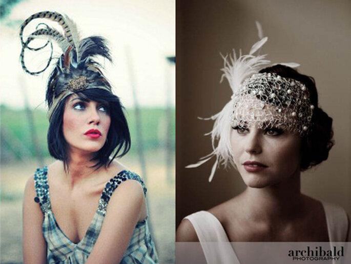 Voilette ou bandeau en plumes pour les invitées - Photo: hola.com