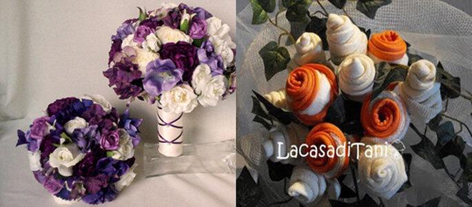 Da sinistra, bouquet con fiori in seta (Etsy.com, Foto: ameliste.it) e bouquet con stracci e tovaglioli di La Casa di Tania (Foto: La Casa di Tania.blogspot.com)
