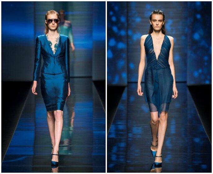 Due proposte con profonda scollatura a V nei toni del blu. Alberta Ferretti S/S 2013. Foto Ufficio Stampa Aeffe S.p.a.