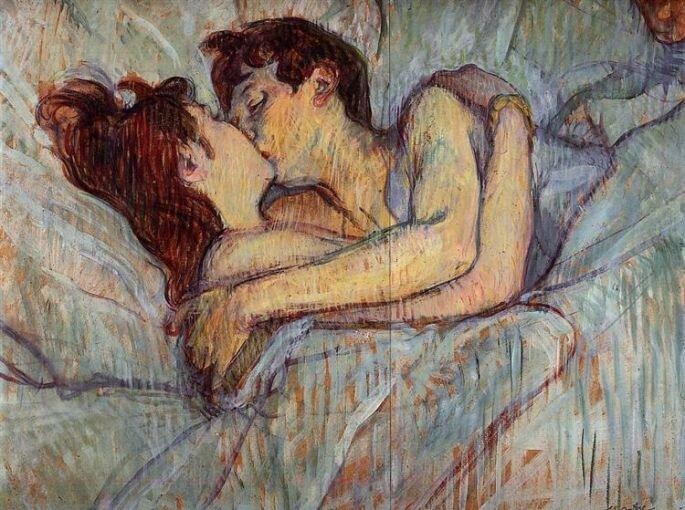 В постели: поцелуй, Анри де Тулуз-Лотрек