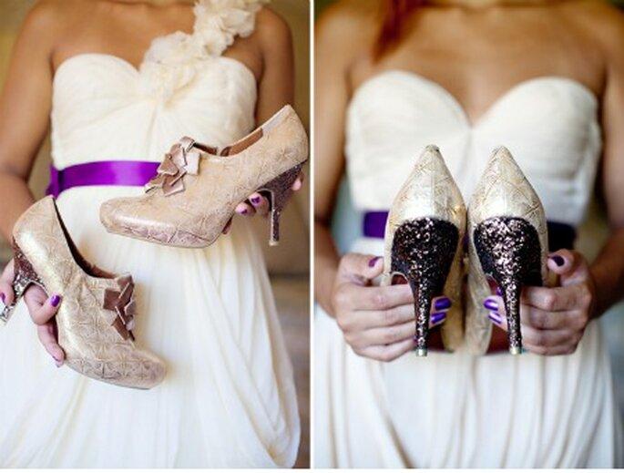 Detalles de trajes de novia en tonos violetas - Foto: Green Wedding Shoes