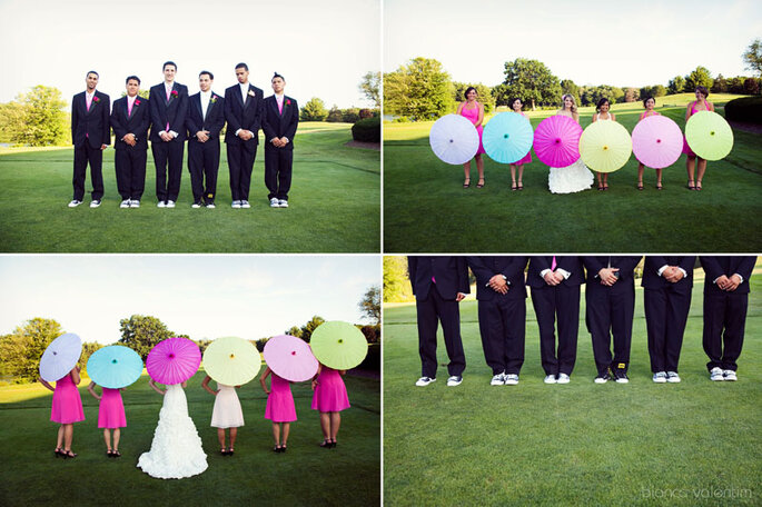 Photos de mariage originales garanties avec des ombrelles. Photo: Bianca Valentim