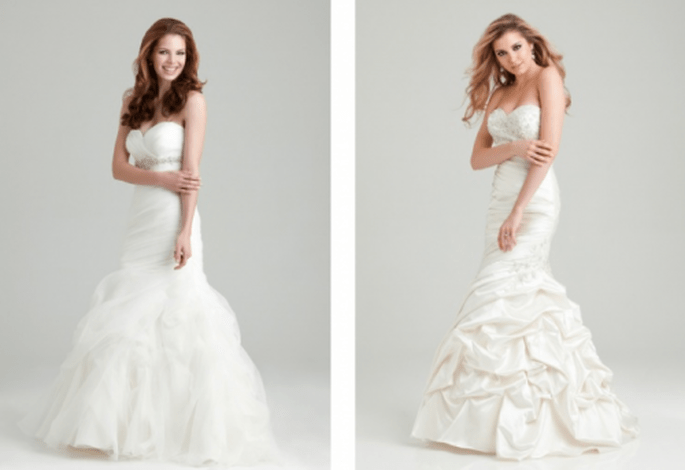 Vestidos de novia corte sirena con plisados y mucho volumen en la falda - Foto Allure Bridals