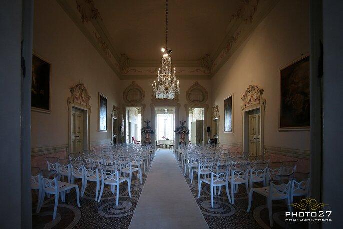 La splendida sala di Villa Durazzo che ha ospitato la nostra tavola rotonda