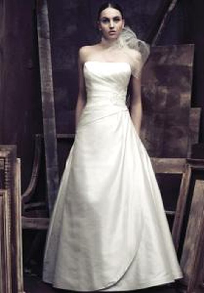aloma Blanca 2009 - vestito lungo in seta, linee diagonali, senza spalline