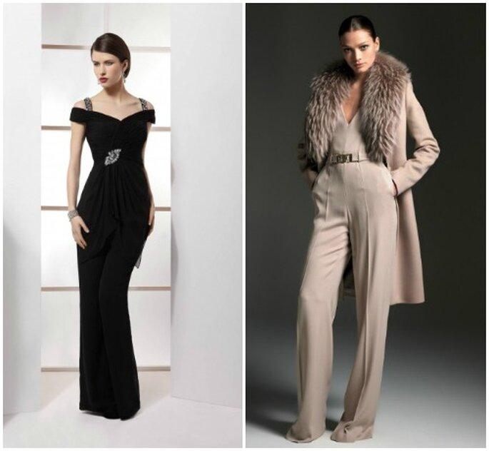 Pantalons ultra longs ayant l'avantage d'allonger la silhouette. A gauche : Demetrios 2013, à droite Blumarine A/H 2012-13