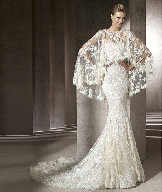 Vestido de novia de encaje. Pronovias 2012