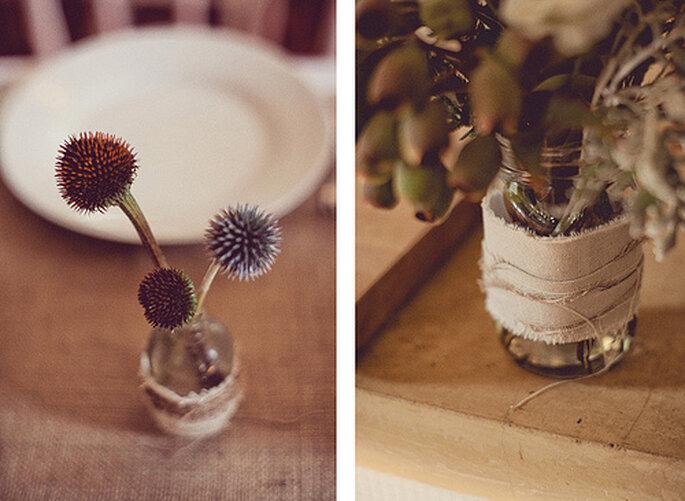 Las plantas y arreglos florales pueden ser la mejor idea para una boda ecológica. Fotos de One Love Photo