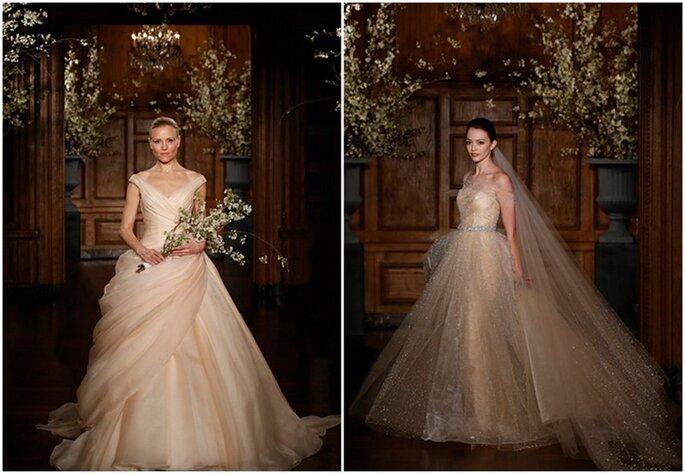 Vestidos de novia estilo princesa en color champaña de Romona Keveza 2014. Fotos: www.romonakeveza.com