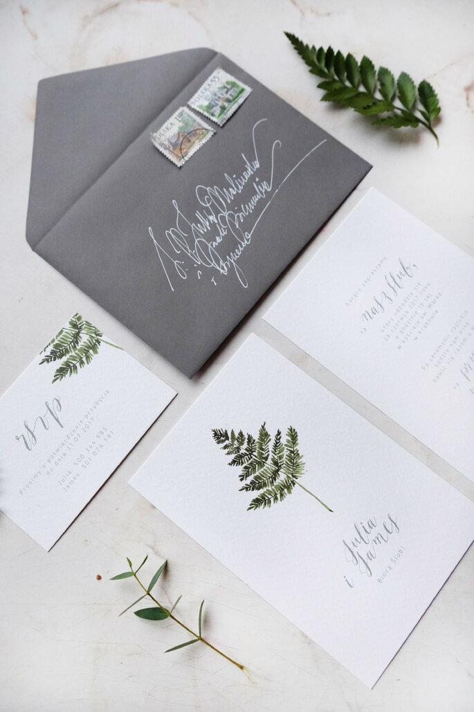 zaproszenie z paprotkÑ Love Prints