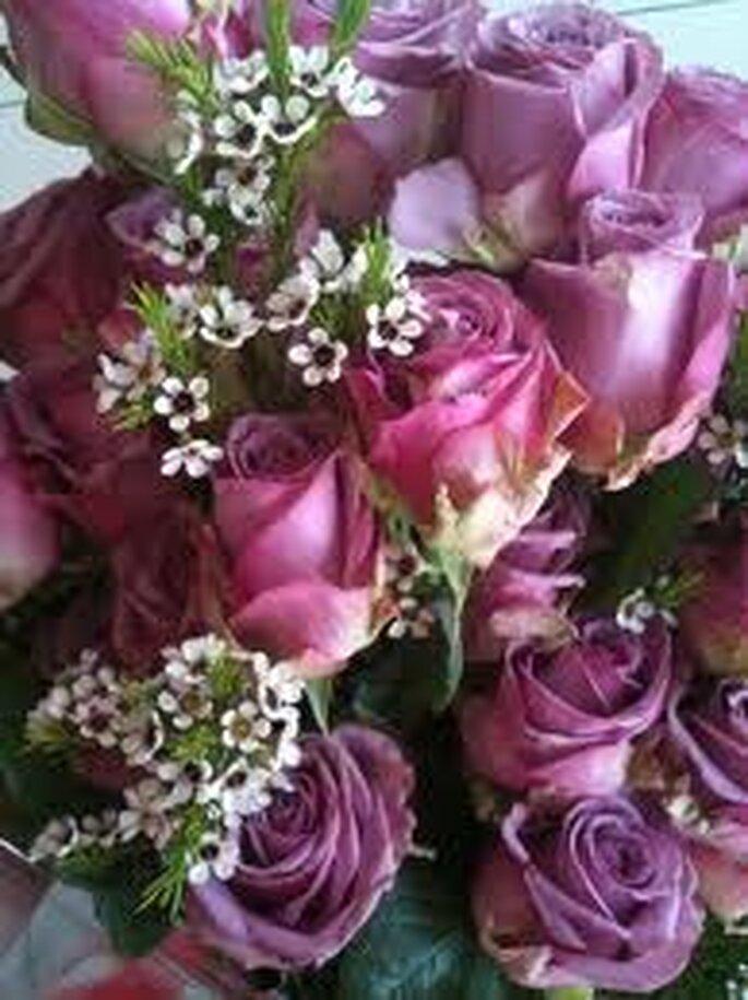Bellísimas rosas lilas con toques blancos para un hermoso ramo de primavera