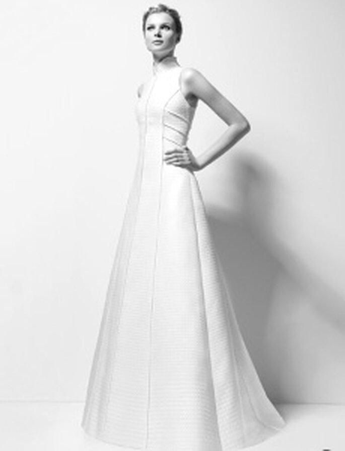 Karl Lagerfeld 2010 - Xandy, vestito lungo in jackard linee rette, senza maniche, stile principessa